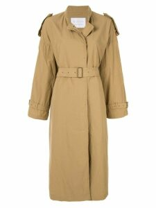 Blueflag + Kiminori Morishita Stand coller belted coat - Brown
