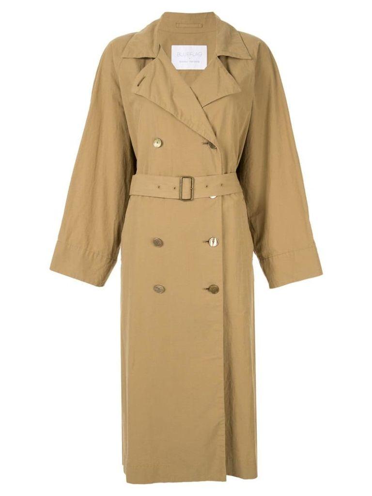 Blueflag + Kiminori Morishita belted trench coat - Brown
