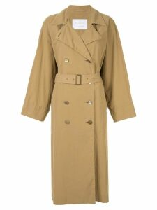 Blueflag + Kiminori Morishita belted trench coat - Brown