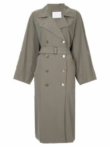 Blueflag + Kiminori Morishita belted trench coat - Green