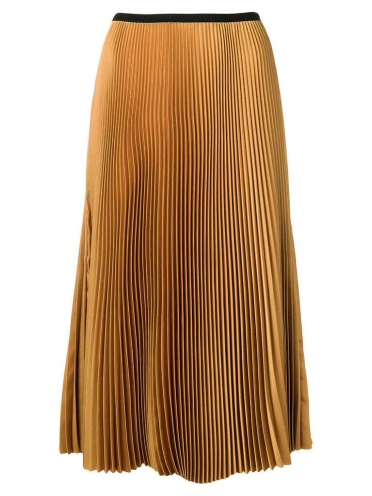 Blanca pleated straight skirt - Neutrals