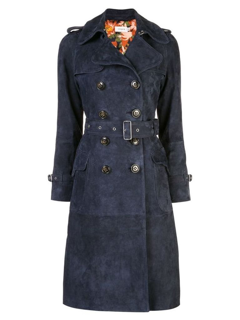 Coach printed lining trench - Blue