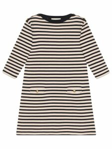 Gucci Striped wool dress with patch - Black