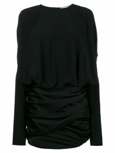 Saint Laurent draped shoulder mini dress - Black