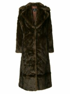 Unreal Fur Long Mac coat - Brown