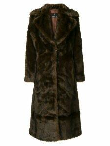 Unreal Fur Long Mac coat - Brown