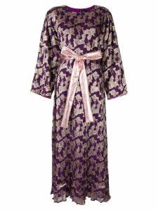 Dima Ayad metallic print flared dress - Purple