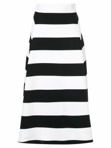 Des Prés striped midi skirt - White
