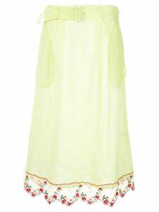 Simone Rocha embroidered midi skirt - Yellow