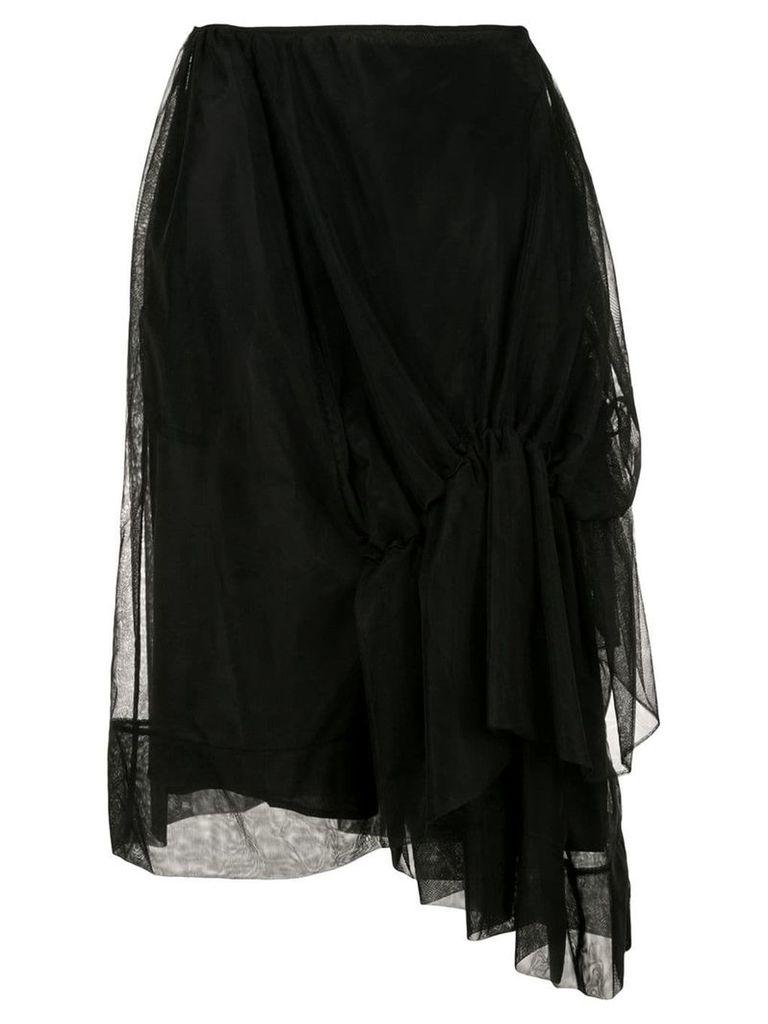 Simone Rocha draped tulle midi skirt - Black