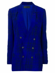 Haider Ackermann checked V-neck blazer - Blue