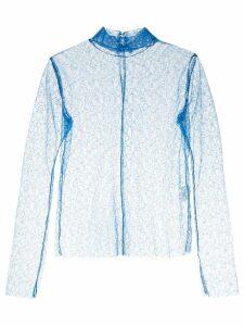 Irene sheer mock neck top - Blue