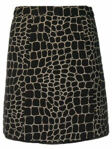 See By Chloé embroidered crocodile effect skirt - Black