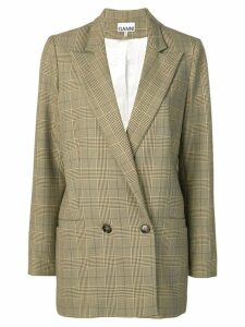 Ganni checked double breasted blazer - Brown