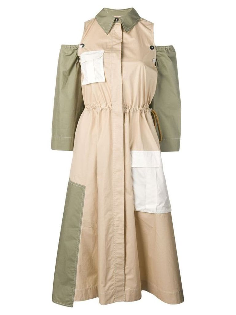 Ganni paneled dress - Neutrals