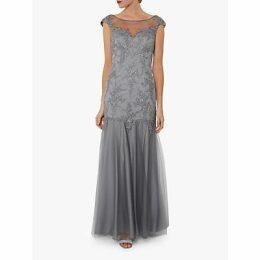 Gina Bacconi Malina Embroidered Maxi Dress, Light Grey