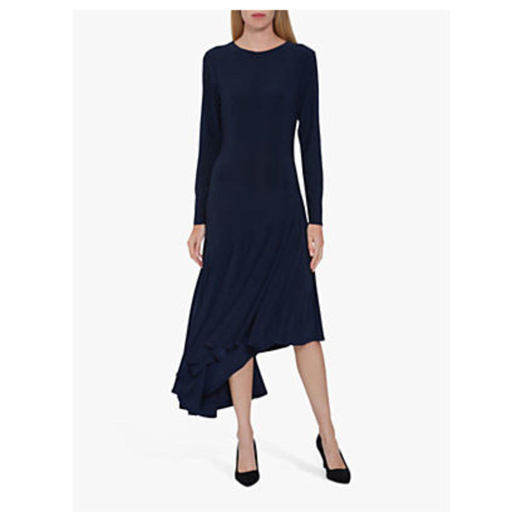 Gina Bacconi Kayra Jersey Asymmetric Midi Dress, Midnight