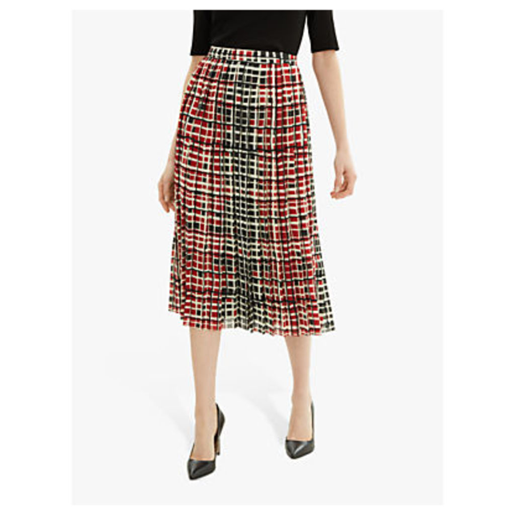 Jaeger Grid Print Skirt, Red