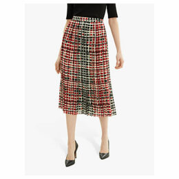 Jaeger Grid Print Skirt, Red
