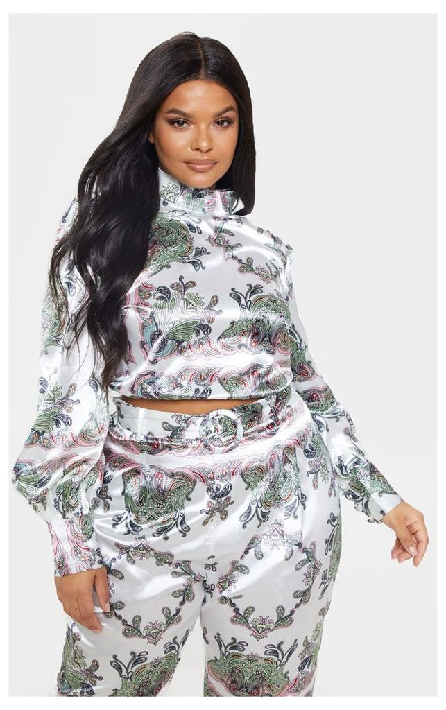 Plus White Satin Paisley Print High Neck Crop Top, White
