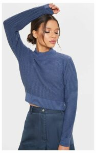 Petrol Ribbed Cropped Knitted Jumper, Blue