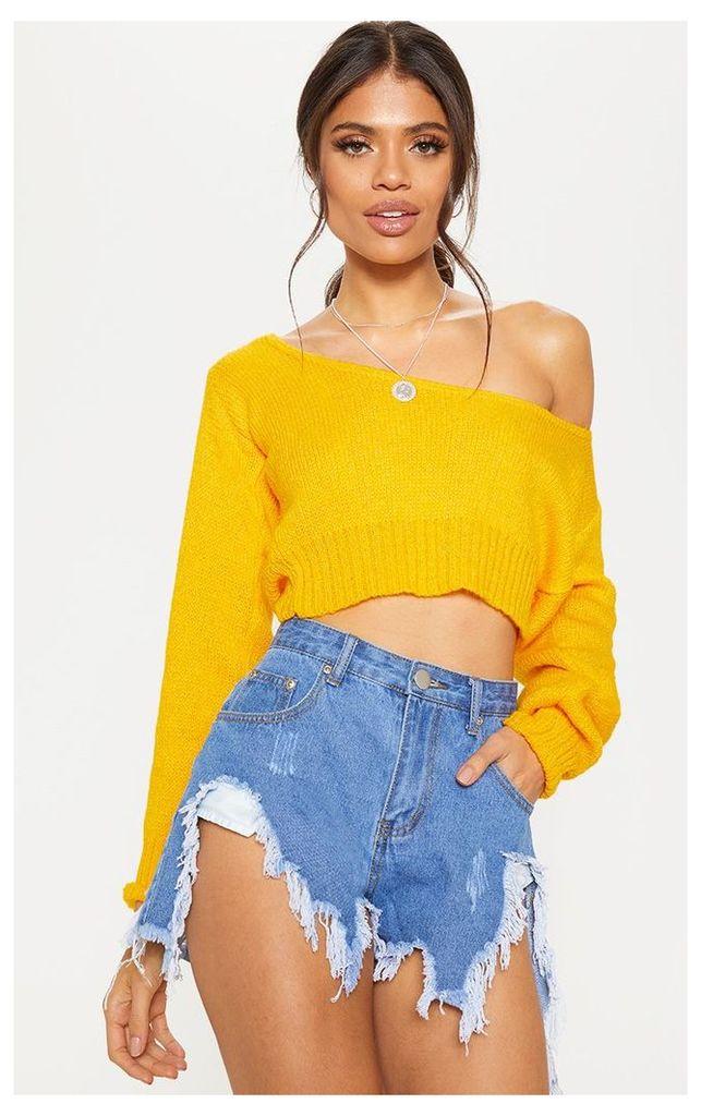 Orange V Neck Off The Shoulder Soft Knitted Crop Jumper, Orange