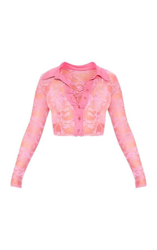 Neon Pink Lace Long Sleeve Crop Top, Neon Pink