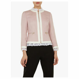 Ted Baker Ennio Lace Trim Cropped Tailored Jacket, Nude
