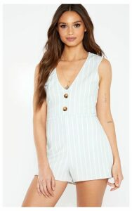 Grey Striped Button Detail Slouchy Playsuit, Grey