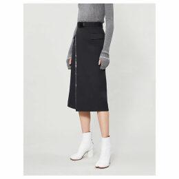 Metallic-insert woven midi skirt