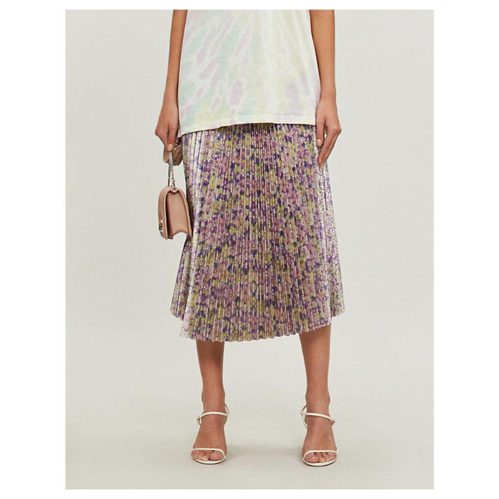 Floral-print metallic pleated midi skirt