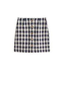 Checked linen skirt