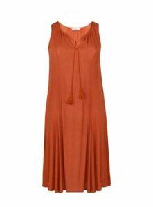 Rust Sleeveless Tassel Detail Midi Dress, Rust