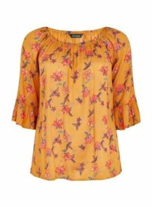 Yellow Floral Print Gypsy Top, Yellow