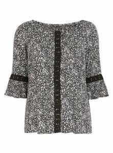 Black Animal Print Gypsy Top, Black/White