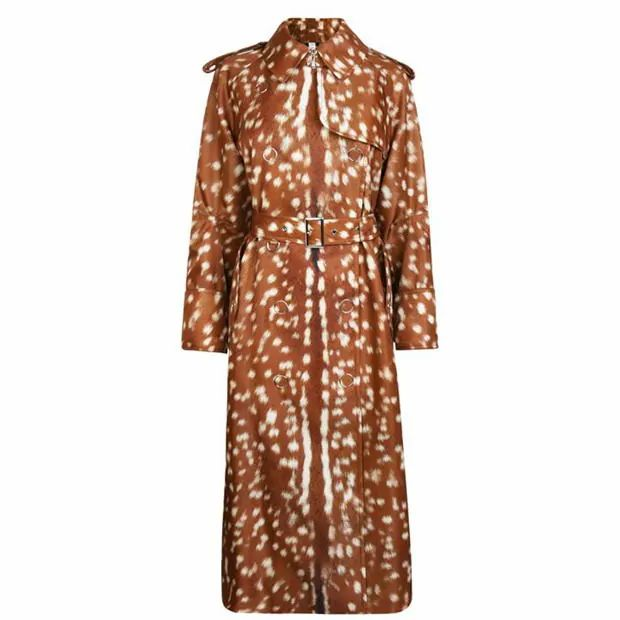 Burberry Exaggerated Cuff Deer Print Nylon Trench Coat