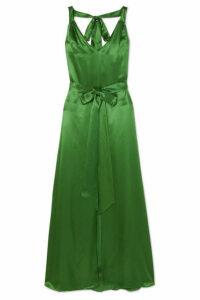 Temperley London - Darling Belted Silk-blend Satin Maxi Dress - Green