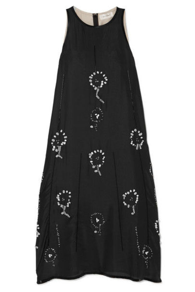 Wales Bonner - Embellished Silk-chiffon Midi Dress - Black