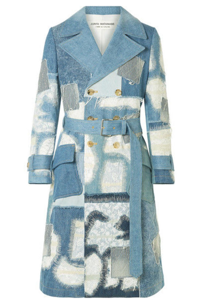 Junya Watanabe - Lace-trimmed Double-breasted Patchwork Denim Coat - Blue