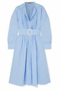 Bottega Veneta - Belted Pintucked Cotton-poplin Dress - Blue