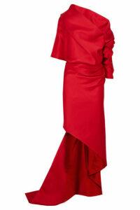 Balenciaga - One-shoulder Draped Duchesse-satin Gown - Red