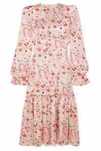 The Vampire's Wife - Ruffled Floral-print Hammered Silk-satin Midi Dress - Pink
