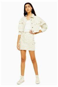 Womens Tall Off White Snake Utility Denim Skirt - White, White