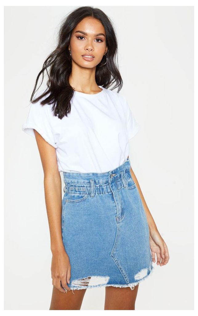 Light Wash Elastic Waist Paperbag Denim Skirt, Light Blue Wash