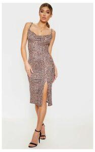 Brown Strappy Leopard Print Midi Dress, Brown