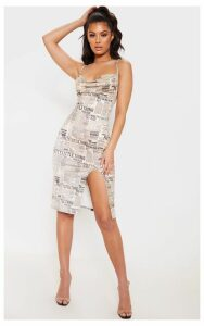 Cream Strappy Newspaper Print Midi Dress, White