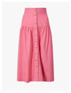 M&S Collection Linen Rich Button Detailed A-Line Midi Skirt