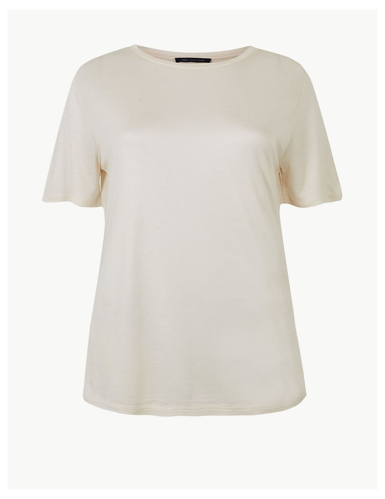 M&S Collection Round Neck Mercerised Short Sleeve T-Shirt