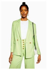 Womens Apple Green Blazer With Linen - Apple, Apple