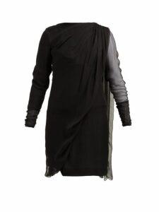 Lanvin - Draped Overlay Silk Chiffon Dress - Womens - Black